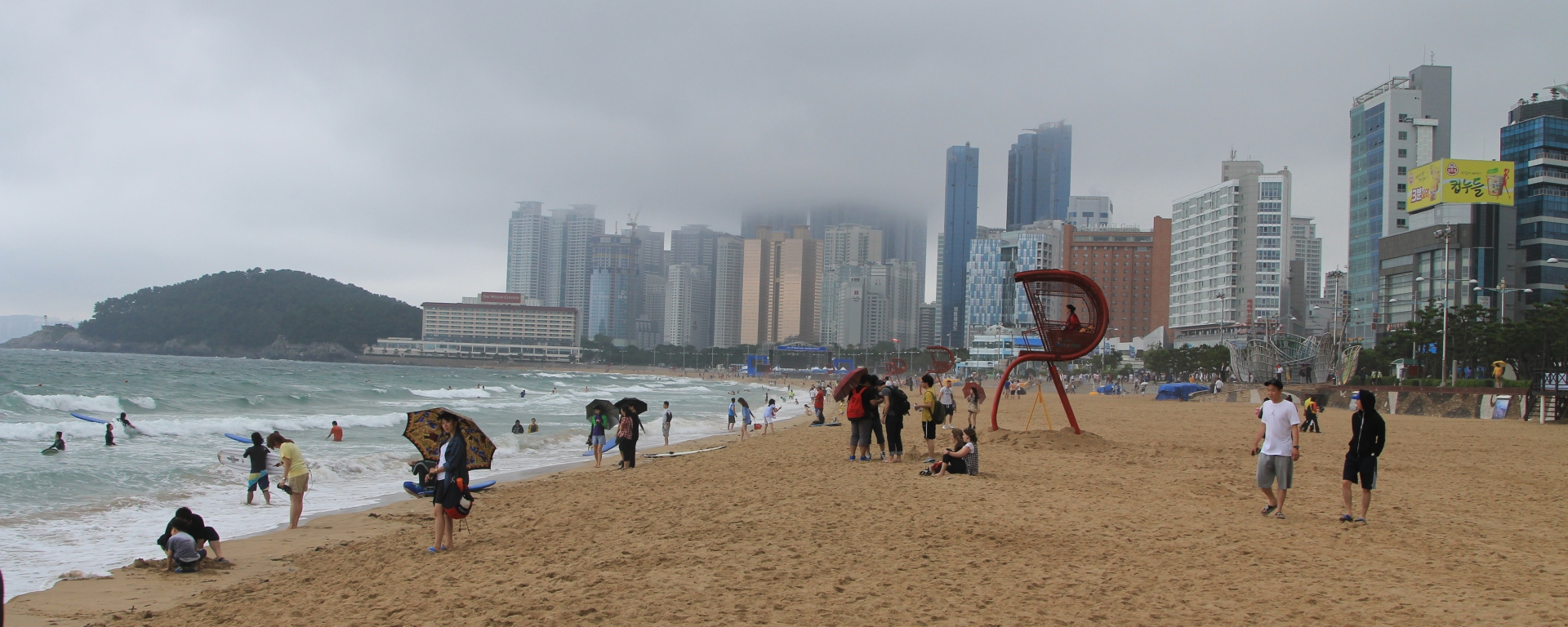 Cloudy day at Haeundae beach Busan Korea