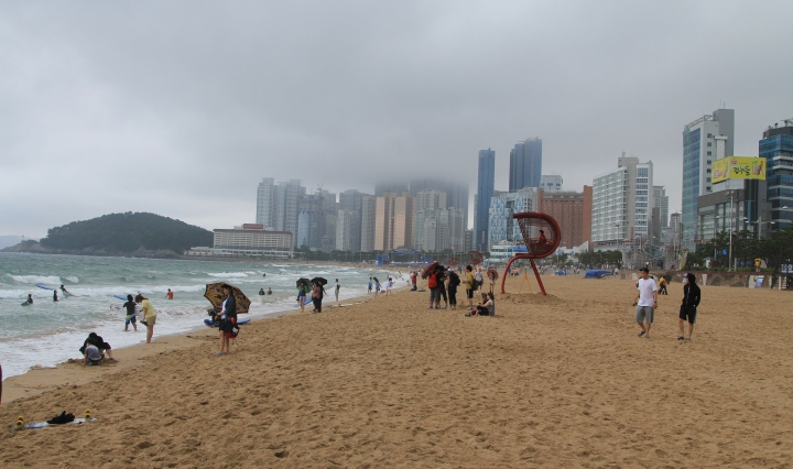 Cloudy day at Haeundae beach Busan Korea