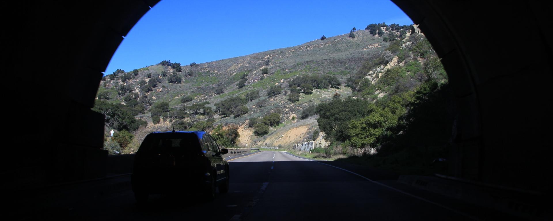 Road tunnel in scenic California road