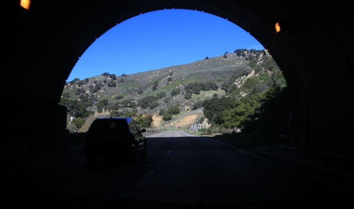 Road tunnel in scenic California road
