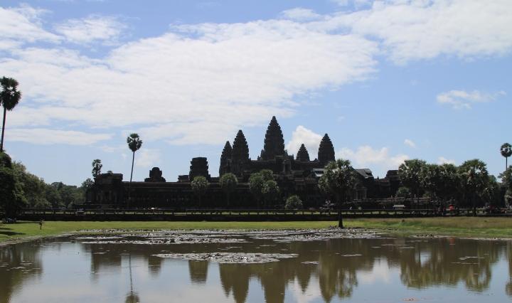 Angkor Wat with lake reflection