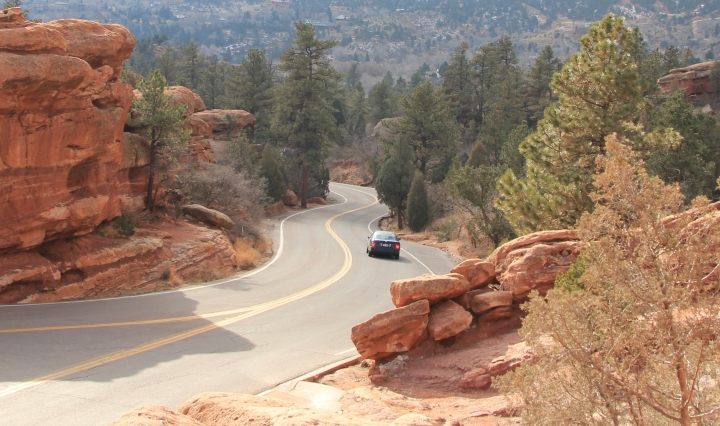 Road in the red rocks of Colorado Springs
