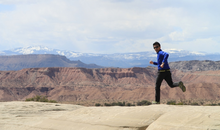 The Journeying Engineer running on rocky surface Utah