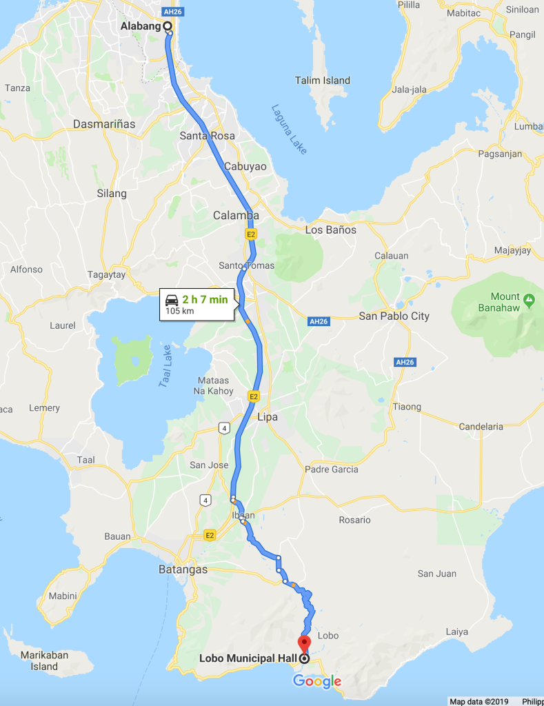 Map of route from Alabang Muntinlupa to Lobo Batangas